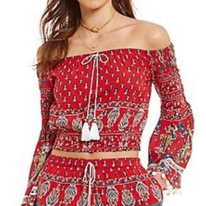 Band Of Gypsies red bell sleeve smock top
